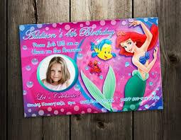 little mermaid ariel birthday invitation party photo invites