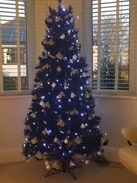 black 5ft artificial tree with bright white led lights