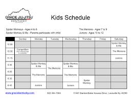 printable evening schedule gracie jiu jitsu of kentucky class schedule