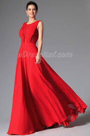 new red stylish design sleeveless eveinng prom gown edressit