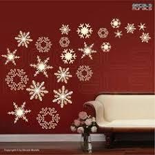 Elegant Christmas Wall Decorations by Vinyl Snowflakes Wall Decals Set Of 50 Christmas Snowflakes
