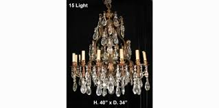15 Light Chandelier Ch42 Large Antique Spanish Cut Crystal And Bronze 15 Light