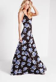 floral maxi dress cross back floral maxi dress black missguided