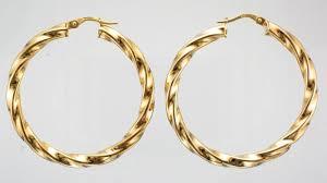 9ct gold earrings 9ct gold 40mm twist hoop earrings attenborough pawnbrokers