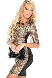 gold black long sleeves sequin cocktail party dress