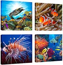 Coral Reef Home Decor Amazon Com Canvas Wall Art Coral Reef And Tropical Fish Under