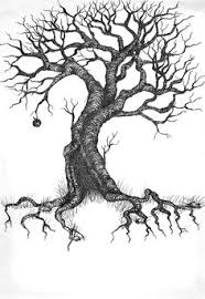 line drawing leaves twisting tree by ellfi on deviantart