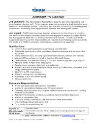 Executive Assistant Job Description Resume by Resume Summary Statement Examples Administrative Assistant