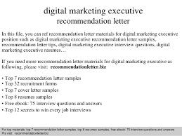 digital marketing executive recommendation letter