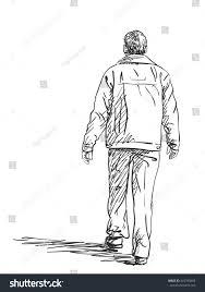 sketch man walking hand drawn illustration stock vector 410790883