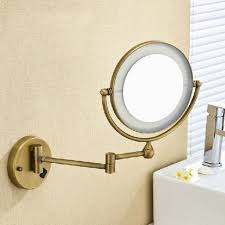 classic design bathroom with antique brass wall mounted round led
