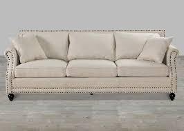 Nailhead Sleeper Sofa Beige Linen Rolled Arm Sofa With Nailheads