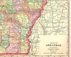 map of arkansas arkansas map etsy