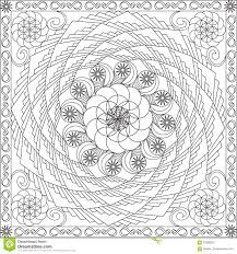coloring page book for adults square format geometric spiral