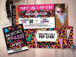 rock star concert ticket birthday party invitation music
