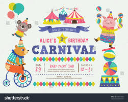 kids birthday party invitation card circus stock vector 632475689