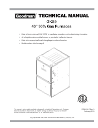 goodman gks9 technical information