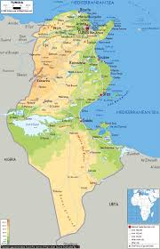 Africa Physical Map Large Physical Map Of Tunisia With Roads Cities And Airports