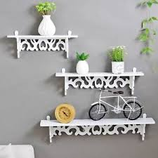 3pcs white wooden wall mounted shelf display chic filigree