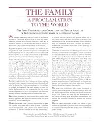 family proclamation the family a proclamation to the world lds media talk new