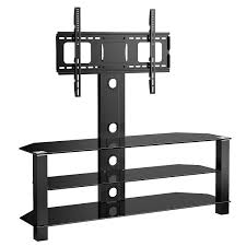 55 Inch Tv Stand 1home Glass Tv Stand Cantilever With Swivel Bracket 3 Tiers For