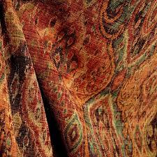 Traditional Upholstery Fabrics M9842 Garnet Rust Orange Green Black Tapestry Damask Upholstery