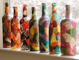 favorite bottle of wine for lokta paper decoupage on wine bottle in your favorite colors