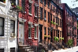 New York House Houses On Street Greenwich Village New York City Stock Photo