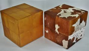 Ottoman Cube Rustic Brown And Cowhide Ottoman Cube