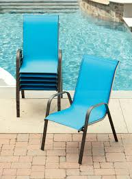Sling Patio Chairs Stackable by Blue Stack Chair Outdoor Living Patio Furniture Chairs Blue Patio