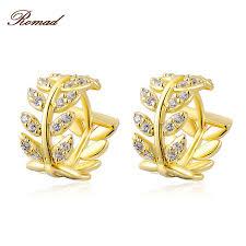 daily wear diamond earrings 2017 hot selling leaf shape stud earring new jewelry gold color