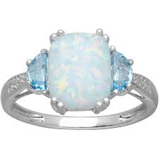 blue topaz engagement rings 1 1 5 ct created opal and swiss blue topaz ring with