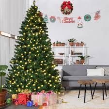 7 u0027 8 u0027 pvc artificial christmas tree w led lights u0026 stand