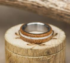 wooden wedding bands authentic whiskey barrel wood wedding band w elk antler inlay