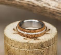 wood wedding band authentic whiskey barrel wood wedding band w elk antler inlay