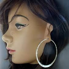 large silver hoop earrings silver hoop earring forged 3 inch large sterling silver