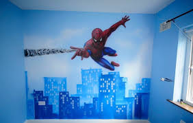 bedroom kids bedroom ideas with spiderman wall mural wallpaper as beautiful spiderman room ideas with white ceiling and double hung window also blue paint walls