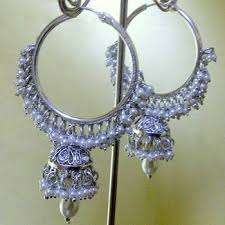 punjabi jhumka earrings buy white hoop earrings with a pretty silver white jhumka