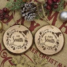 personalised set of two couple u0027s christmas tree decoration love