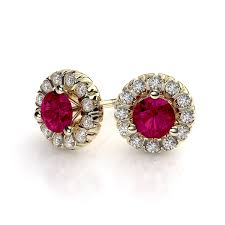ruby stud earrings 5mm ruby and diamond martini stud earrings 14k yellow gold si h i