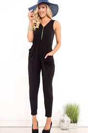 zipper jumpsuit black v neck zipper sleeveless elastic waistband casual romper