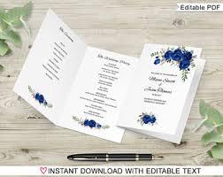 Folded Wedding Programs Folded Program Etsy