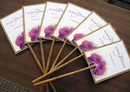 Programs For Weddings Regular Size Place Cards With Bamboo Sticks In It With Purple And