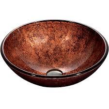 shop vigo copper glass vessel round bathroom sink at lowes com
