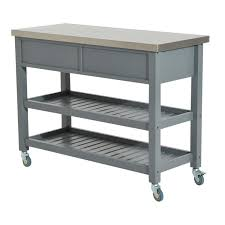 aosom homcom country style kitchen island rustic rolling