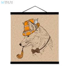 fox home decor fox vintage retro gentleman animal portrait hippie wooden framed