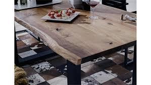 Esszimmer Tisch Holz Queens Akazie Massiv Natur Geölt Metall Grau 180x90