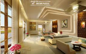 warm living room with intricate ceiling design and gentle tones