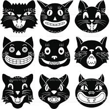vintage halloween illustration black and white images of halloween cat heads stock vector art