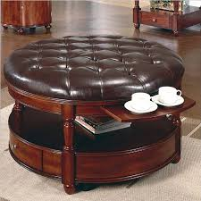 round leather ottoman coffee table with tray with artistic design